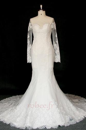 Robe de mariée Manche Longue Dentelle Eglise Col Bateau Formelle - Page 1