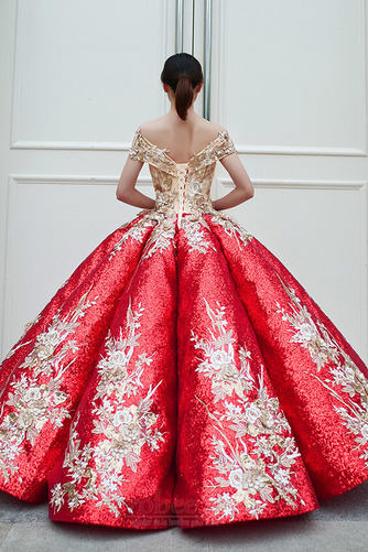 Robe de bal Rosée épaule Manche Courte Laçage À la masse Étoilé - Page 3