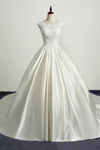 Robe de mariée Princesse Eglise Traîne Longue Manche Courte Satin - Page 1