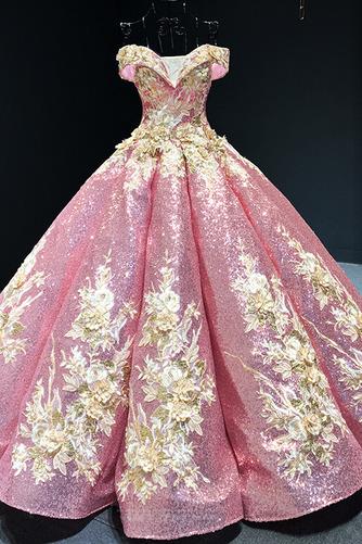 Robe de bal Rosée épaule Manche Courte Laçage À la masse Étoilé - Page 7