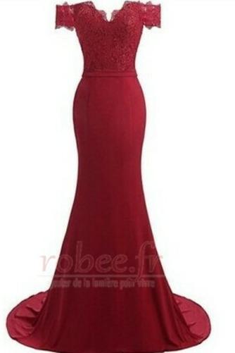 Robe de bal Printemps Sirène Rosée épaule Perler Manquant Dentelle - Page 12