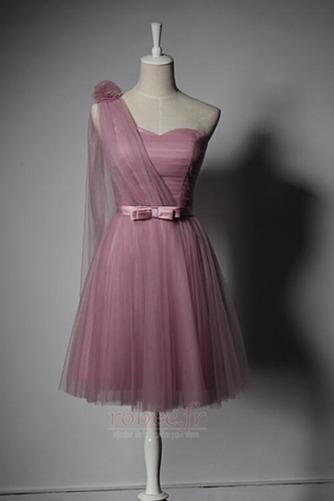 Robe de demoiselle d'honneur Laçage Mariage Col Asymétrique Glamour - Page 3