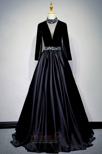 Robe de bal Fermeture éclair Montrer Luxueux A-ligne Col en V Foncé - Page 7