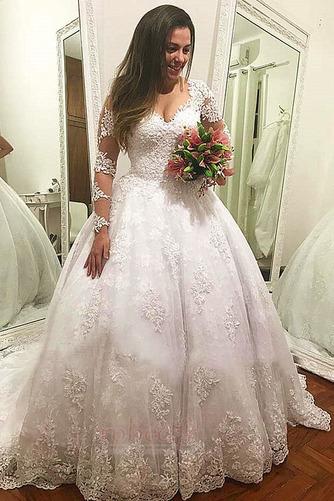 Robe de mariée Manche Longue Manquant A-ligne Col en V Gaze Naturel taille - Page 1