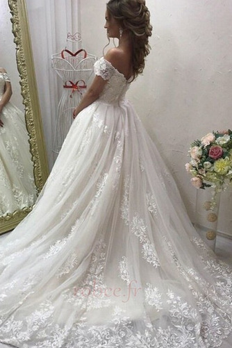 Robe de mariée Elégant Médium Manche Courte Traîne Courte Rosée épaule - Page 2