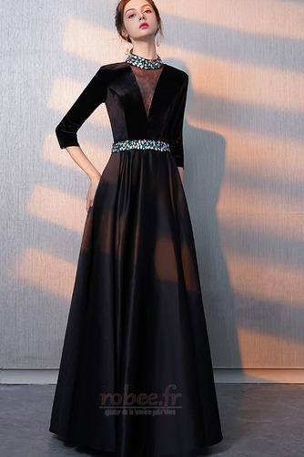 Robe de bal Fermeture éclair Montrer Luxueux A-ligne Col en V Foncé - Page 3