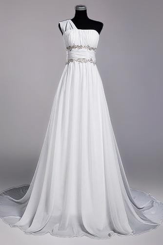 Robe de mariage Fourreau plissé Drapé Une épaule A-ligne Mousseline - Page 1