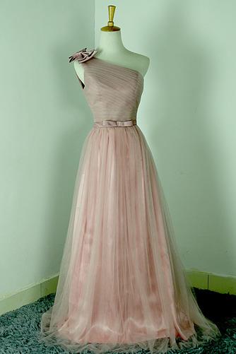 Robe de demoiselle d'honneur Rose Sans Manches Mariage Chic Nœud à Boucles - Page 1