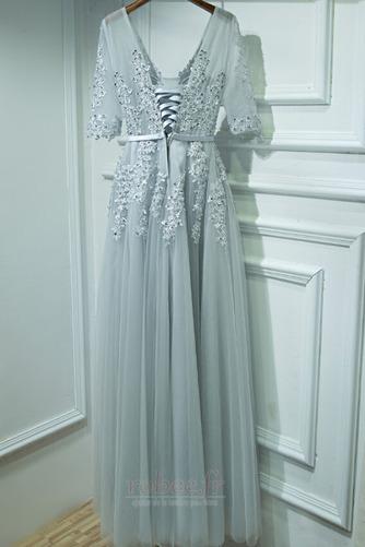 Robe de demoiselle d'honneur Tulle Manche Courte Col en V Couvert de Dentelle - Page 2