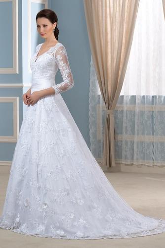 Robe de mariée Formelle Satin Chapelle Col en V Fermeture à glissière - Page 3