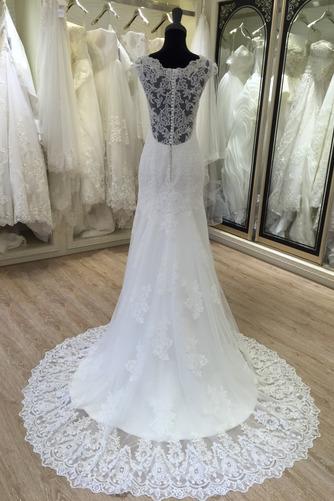 Robe de mariée Manche Courte Eglise Automne Dentelle Longue Col en V - Page 2