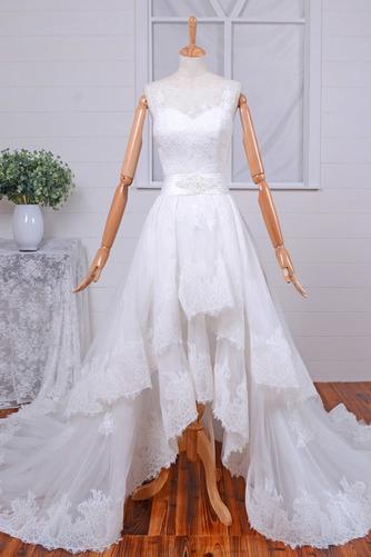 Robe de mariée Vintage Col Bateau Traîne Mi-longue Haut Bas Dentelle - Page 1