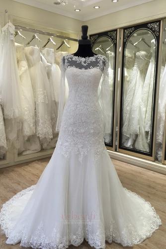 Robe de mariée Manche Longue Fermeture à glissière Traîne Mi-longue - Page 1