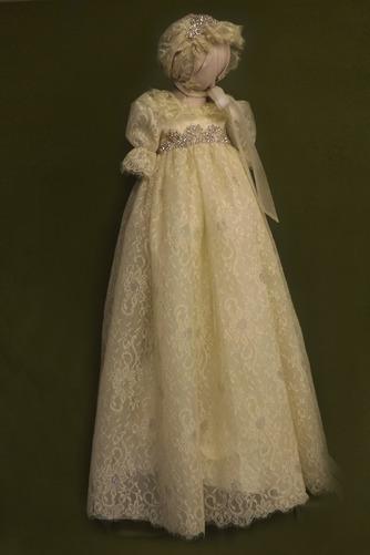 Robe de fille de fleur Cérémonie Manquant Manche Courte Dentelle - Page 1