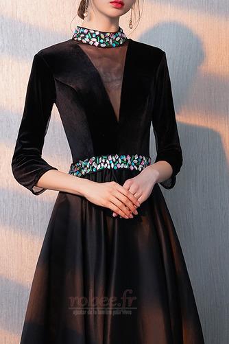 Robe de bal Fermeture éclair Montrer Luxueux A-ligne Col en V Foncé - Page 6
