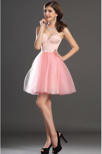 Robe de bal Tulle Mode Sablier Perle rose Col en Cœur Sans Manches - Page 5