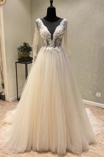 Robe de mariée Tulle Ample & Ornée Gaze Été Traîne Moyenne A-ligne - Page 1