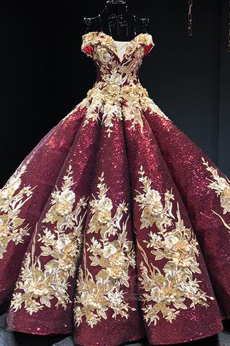 Robe de bal Rosée épaule Manche Courte Laçage À la masse Étoilé - Page 6