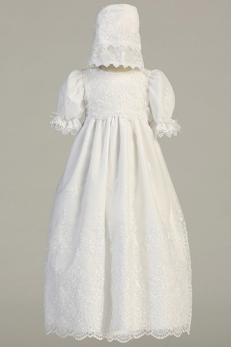 Robe de fille de fleur Cérémonie Longue Chapeau Blanche Naturel taille - Page 1
