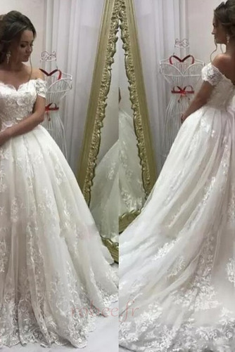Robe de mariée Tulle A-ligne Manche Courte Cérémonial Appliquer - Page 1