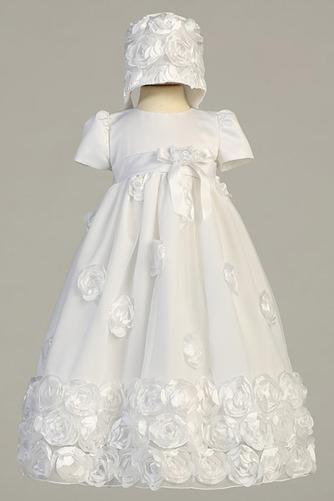 Robe de fille de fleur Blanche Manche de Bulle Longue Chapeau - Page 1