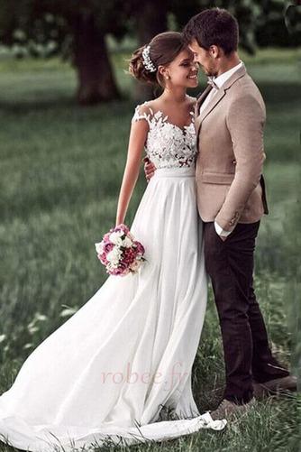 Robe de mariage Mousseline A-ligne Mancheron Automne Dentelle - Page 1