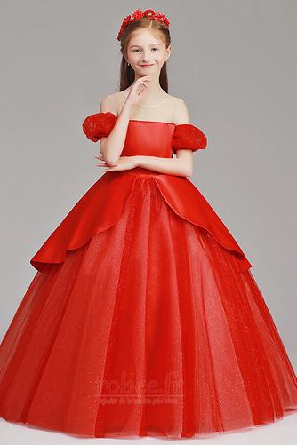 Robe de fille de fleur Tulle A-ligne Rosée épaule Trou De Serrure - Page 3