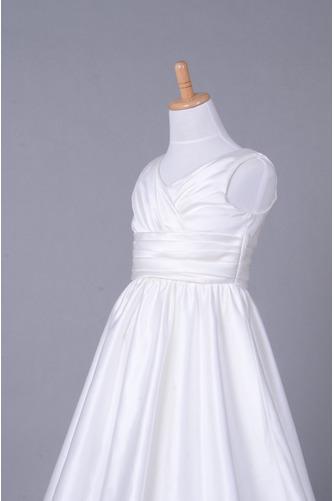 Robe de fille de fleur Corsage plissé Blanche Fermeture à glissière - Page 5
