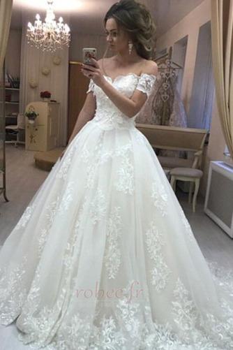 Robe de mariée Elégant Médium Manche Courte Traîne Courte Rosée épaule - Page 1