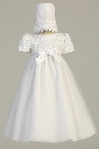 Robe de fille de fleur Traîne Démontable Manche de T-shirt élancé - Page 1