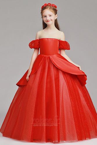 Robe de fille de fleur Tulle A-ligne Rosée épaule Trou De Serrure - Page 1