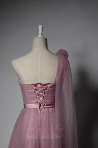 Robe de demoiselle d'honneur Laçage Mariage Col Asymétrique Glamour - Page 4