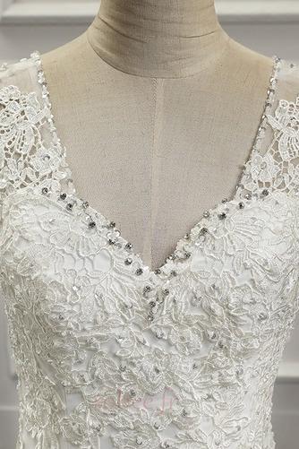 Robe de mariée Près du corps Automne Gaze Jardin Mince Chic Couvert de Dentelle - Page 4