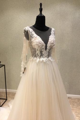 Robe de mariée Tulle Ample & Ornée Gaze Été Traîne Moyenne A-ligne - Page 3