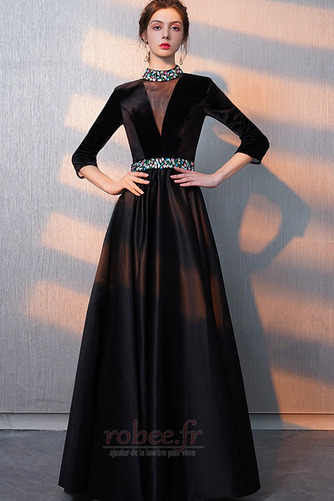 Robe de bal Fermeture éclair Montrer Luxueux A-ligne Col en V Foncé - Page 1