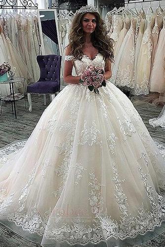 Robe de mariée Manche Courte Luxueux A-ligne Poire Dentelle Dos nu - Page 1