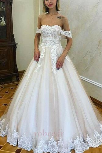 Robe de mariée Romantique Dentelle Mancheron Rosée épaule Automne - Page 1