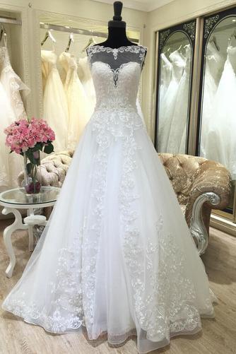 Robe de mariée Appliquer Satin Col Bateau Printemps Formelle - Page 1