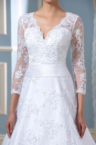 Robe de mariée Formelle Satin Chapelle Col en V Fermeture à glissière - Page 5