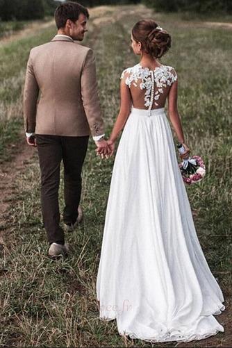 Robe de mariage Mousseline A-ligne Mancheron Automne Dentelle - Page 2