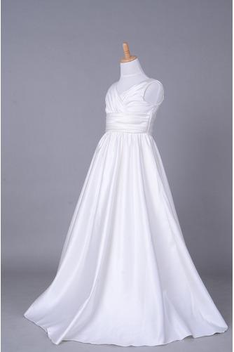 Robe de fille de fleur Corsage plissé Blanche Fermeture à glissière - Page 2