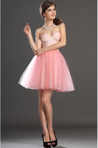 Robe de bal Tulle Mode Sablier Perle rose Col en Cœur Sans Manches - Page 1