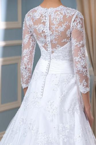 Robe de mariée Formelle Satin Chapelle Col en V Fermeture à glissière - Page 4