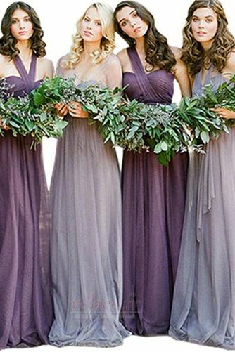 Robe de demoiselle d'honneur Une épaule Simple Corsage plissé - Page 5