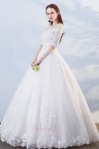 Robe de mariée Formelle Manche Demi Salle Longueur au sol A-ligne - Page 1