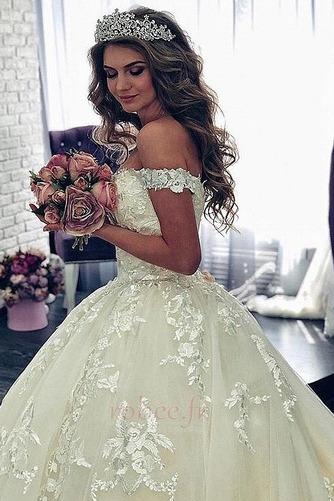 Robe de mariée Manche Courte Luxueux A-ligne Poire Dentelle Dos nu - Page 3