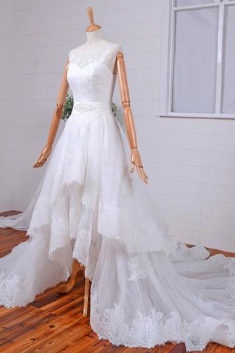 Robe de mariée Vintage Col Bateau Traîne Mi-longue Haut Bas Dentelle - Page 3
