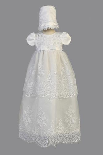 Robe de fille de fleur Chapeau Organza Naturel taille Blanc Petit collier circulaire - Page 1