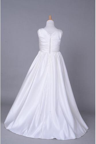 Robe de fille de fleur Corsage plissé Blanche Fermeture à glissière - Page 3