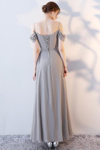 Robe de demoiselle d'honneur Laçage Sans Manches Mousseline A-ligne - Page 4